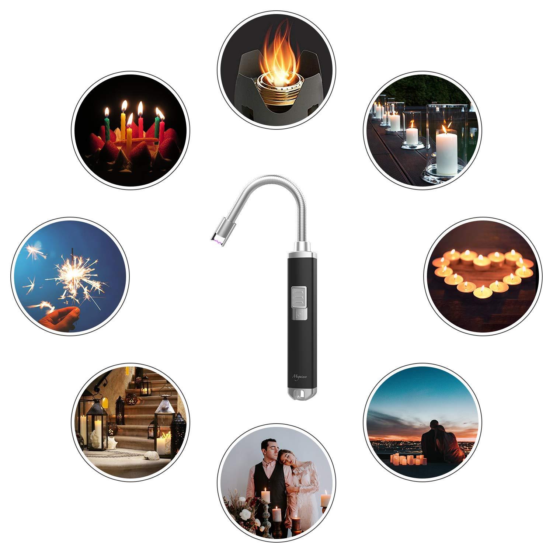 Megainvo Lichtbogen Stabfeuerzeug, Elektronisch USB Wiederaufladbare Lighter Feuerzeug Flammenlos und Windgeschützt Feuerzeug für Grill, Küche, Herd und Camping Indoor- oder Outdoor-Aktivitäten