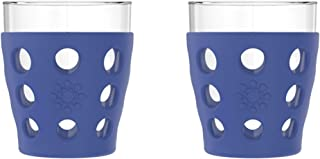 product image for Lifefactory - LF330006C4 Lifefactory 10-Ounce BPA-Free Indoor/Outdoor Beverage Glass with Protective Silicone Sleeve, 2 Pack, Cobalt