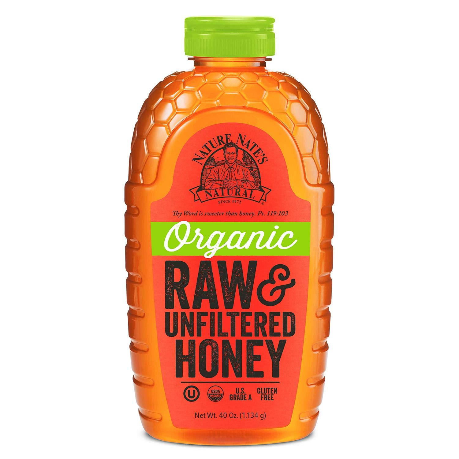 Nature Nate's 100% Organic Pure Raw & Unfiltered Honey (40 Ounce)