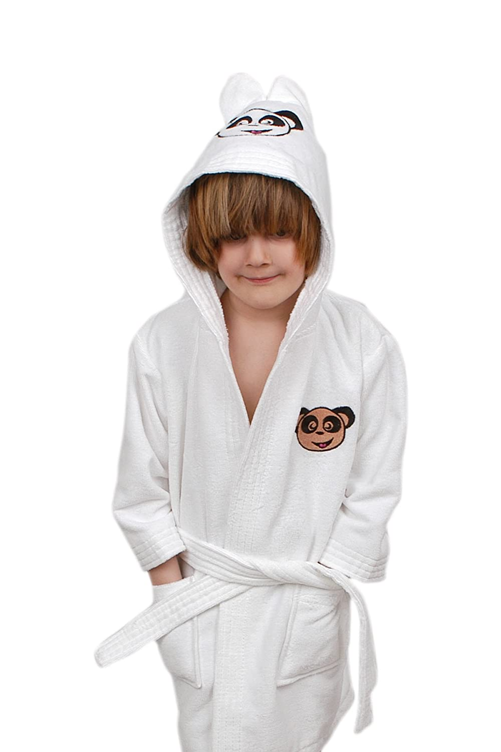 Made in Turkey Boys and Girls Kids Ekstra Soft Cotton Hooded Bathrobe with Embroidered
