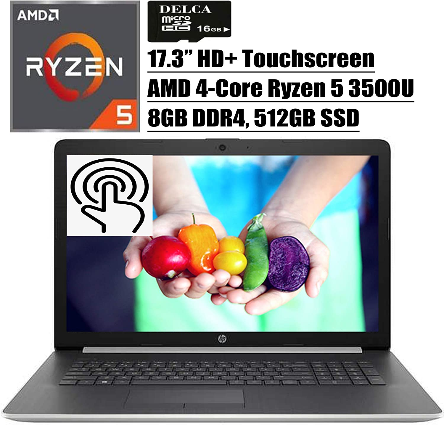 "HP 17 2020 Newest Premium Laptop Computer I 17.3"" HD+ Touchscreen I AMD Quad-Core Ryzen 5 3500U (>i7-7500U) I 8GB DDR4 512GB SSD I WiFi HDMI Backlit KB DVD Win 10 + Delca 16GB Micro SD Card"