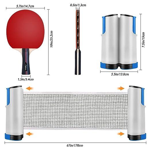 XDDIAS Raquetas de Tenis de Mesa, 4 Raquetas + Red Retráctil + Tarjeta de Puntuación + 6 Bolas Conjunto de Pingpong Set Portátil para Interior al Aire ...