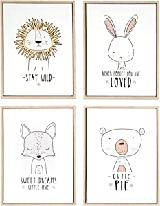 Framed Canvas Cute Sweet Animals Wall Art Décor Set of 4 (12 x 16 in) for Baby Toddler Nursery Girl Boy Neutral Kids Childrens Bedroom Playroom