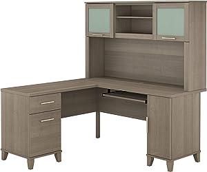 Bush Furniture Somerset L Shaped Desk with Hutch, 60W, Ash Gray