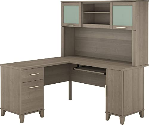 Bush Furniture SET002AG Somerset L Shaped Desk with Hutch, 60W, Ash Gray