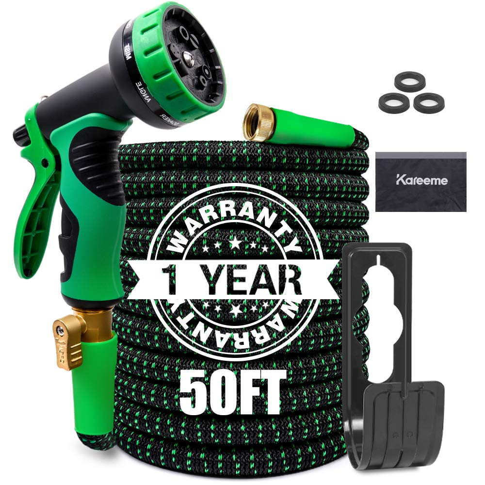 """KAREEME 50FT Garden Hose Expandable Water Hose Lightweight with 9 Spray Nozzle, Extra Strength Fabric, No-Kink, Durable Flexible Garden Hose, 3/4"""" Solid Brass Fittings"""