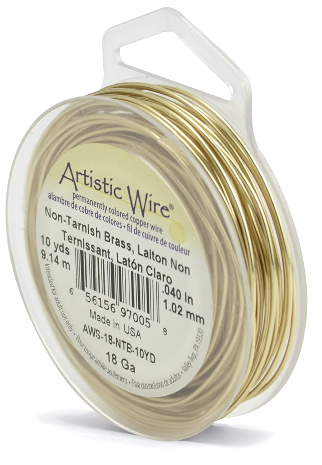 Artistic Wire 18-Gauge Non-Tarnish Brass Wire, 10-Yards AWS-18-NTB-10YD