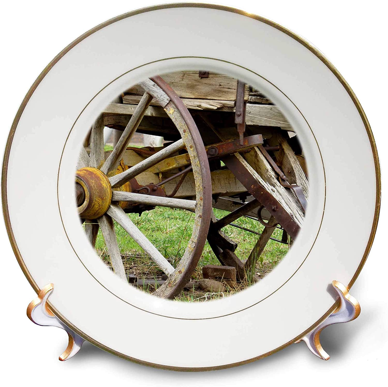 3dRose Jos Fauxtographee- Wagon Wheel - A Wheel on an Old Pioneer Wagon in Wood with Rust - 8 inch Porcelain Plate (cp_321172_1)