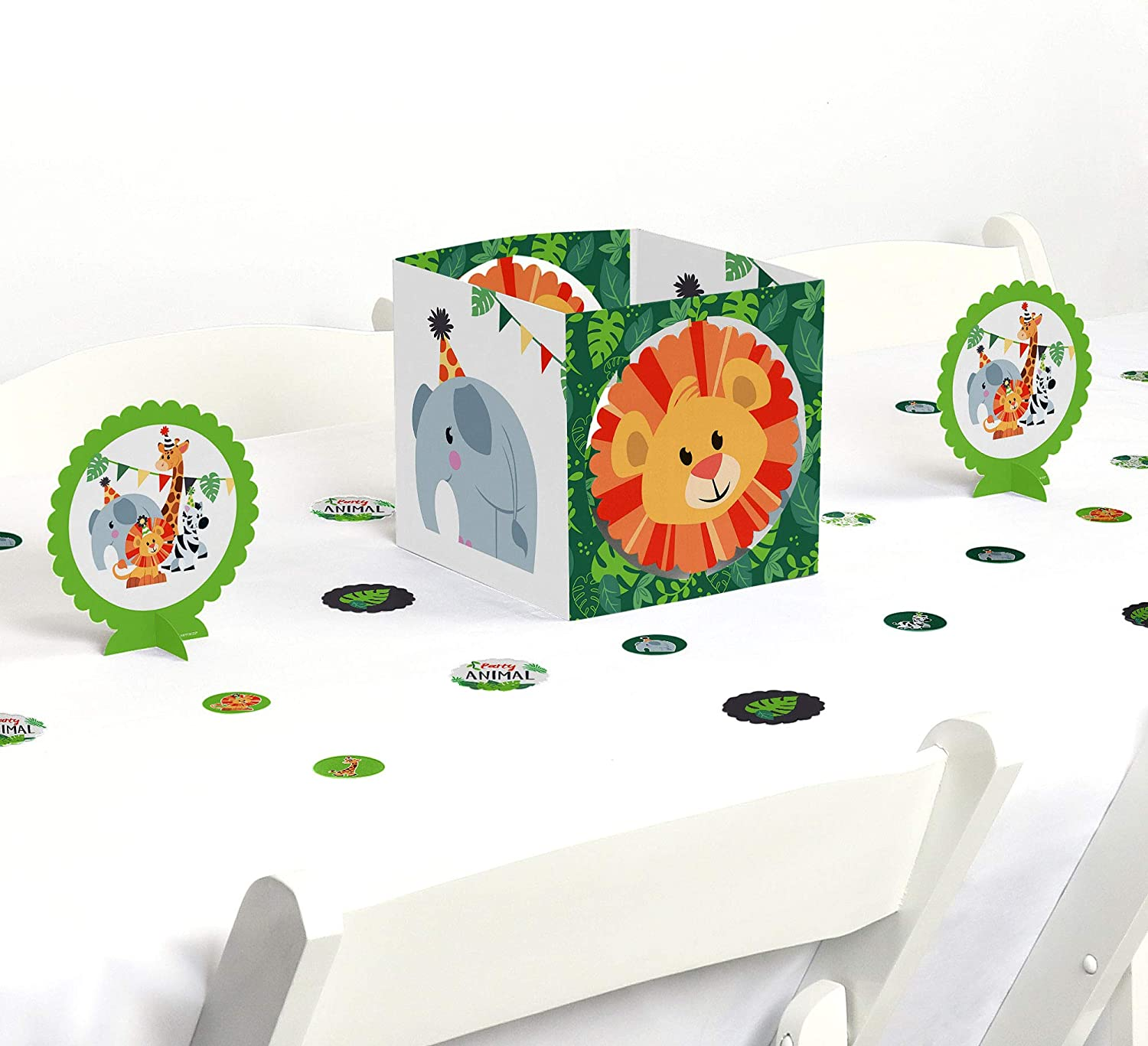 Big Dot of Happiness Jungle Party Animals - Safari Zoo Animal Birthday Party or Baby Shower Centerpiece & Table Decoration Kit