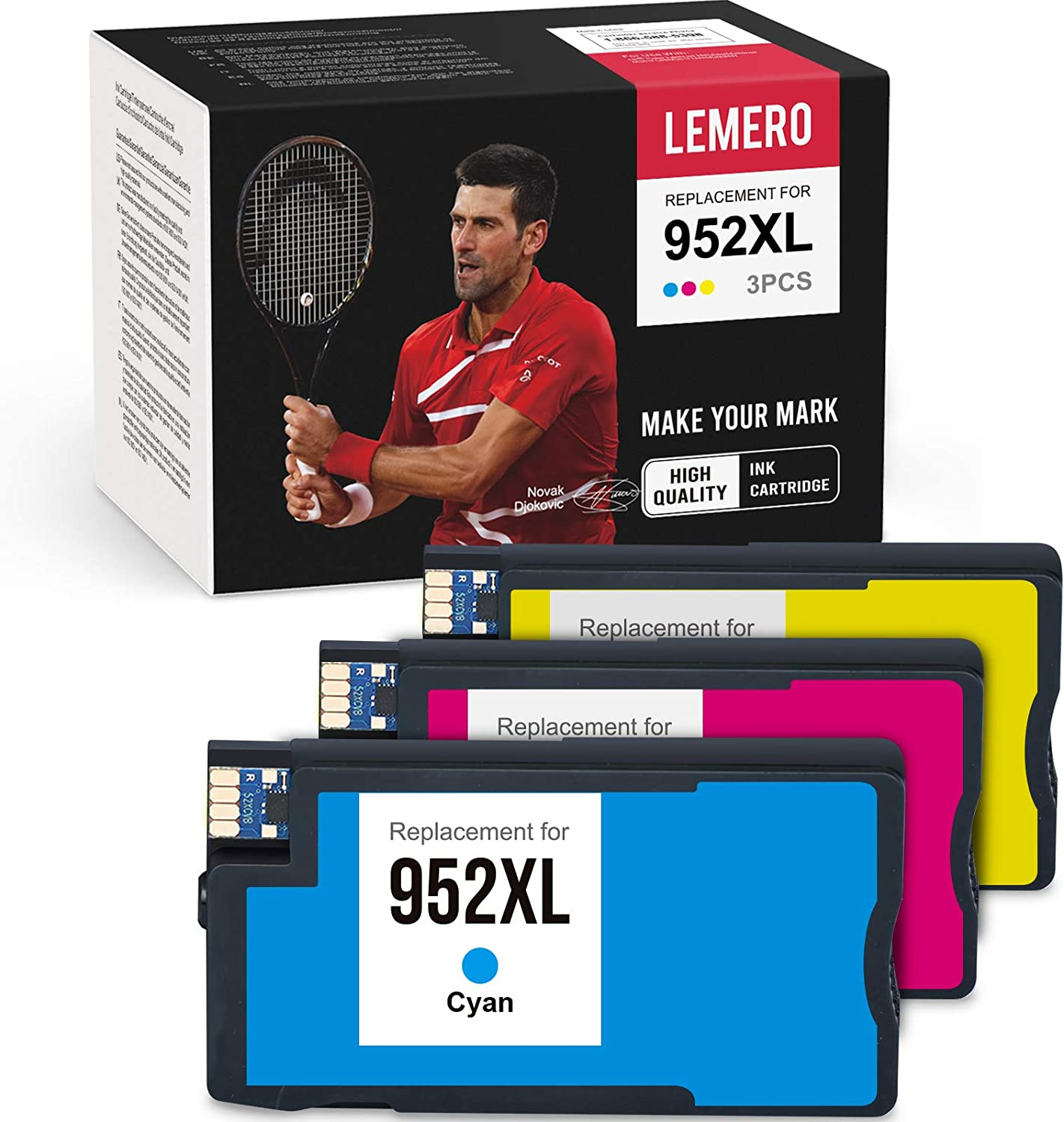 LEMERO Remanufactured Ink Cartridge Replacement for HP 952 952XL Work with OfficeJet Pro 8720 8710 7740 7720 8702 8210 8200 8715 (1 Cyan 1 Magenta 1 Yellow)
