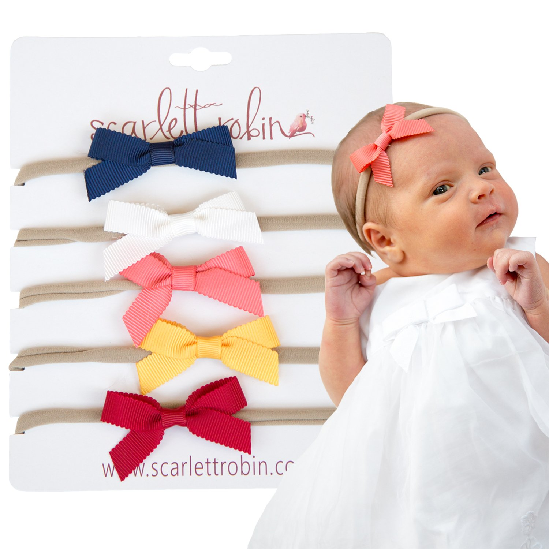 Amazon.com  5 Baby Girl Hair Bows on Nylon Headbands  daf5a1ac623
