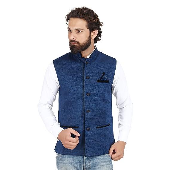 ae4f693f723 Akaas Men s Cotton Blend Nehru and Modi Navy Blue Jacket Ethnic Style ...