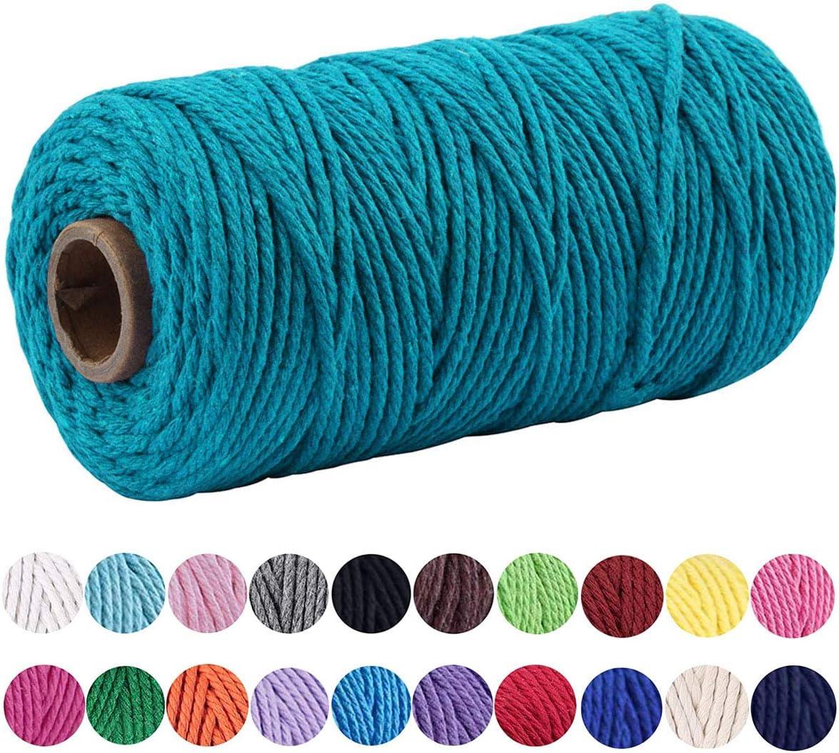 Macrame Cord 3mm 109 Yard 100% Natural Cotton Wall Hanging Plant Hanger DIY Craft Making Knitting Cord Rope Christmas Wedding Decor (Peacock Blue)