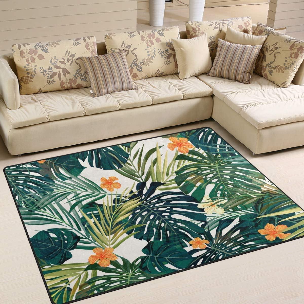 Modern Area Rugs 5x7 Washable - Palm Tree Green LeavesSoft Aera Rug Anti-Skid Nursery Rug Carpet Floor Mat Home Decor Living Room and Outdoor