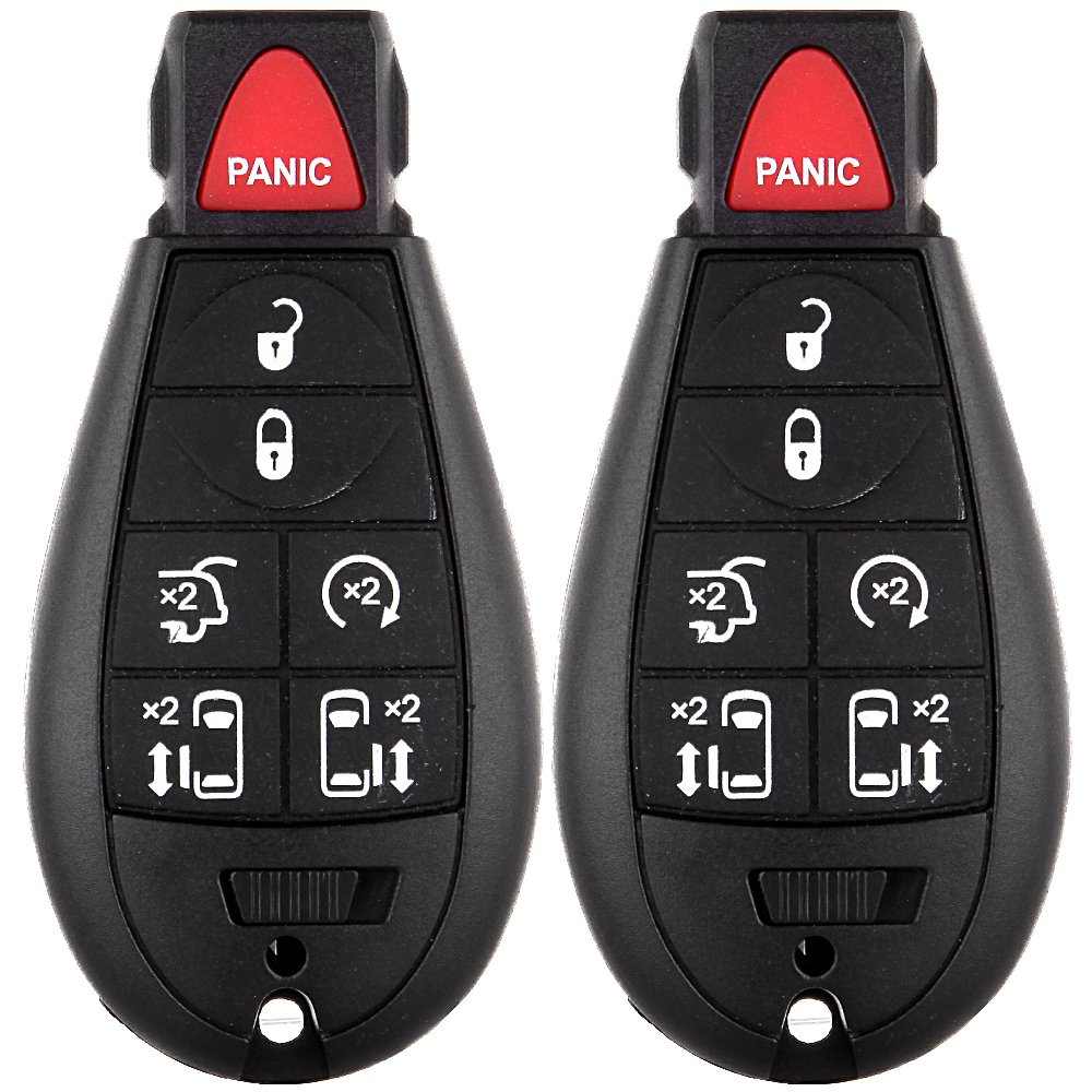ECCPP 2X 7 Buttons Uncut Keyless Entry Remote Control Car Key Fob Shell Case Replacement fit for Chrysler Dodge Jeep Volkswagen M3N5WY783X