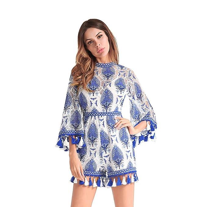 Kleid der Frau Damen Kleid Hosen Quaste Stickerei Trompete Ärmel Frühjahr  und Sommer Lady Overall Cocktail 41cb961e13