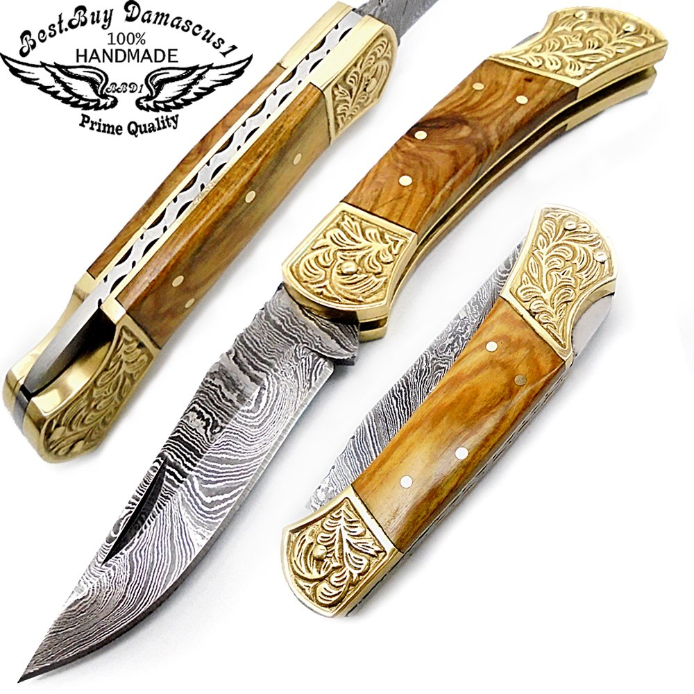 Olive Wood Brass Double Bloster Beautiful Scrimshaw Work 7.6'' Handmade Damascus Steel Folding Pocket Knife 100% Prime Quality by Best.Buy.Damascus1