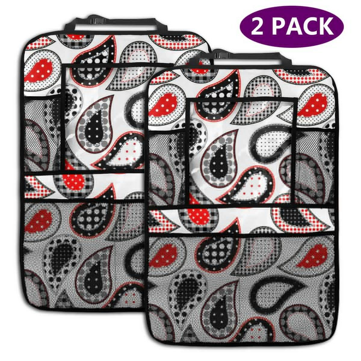 Paisley Pattern in Patchwork Style Car Backseat Organizer with 2 Pcs Seatback Auto Kick Mat Back Seat Protector for Multi Storage Pocket by HBWUYZU-T