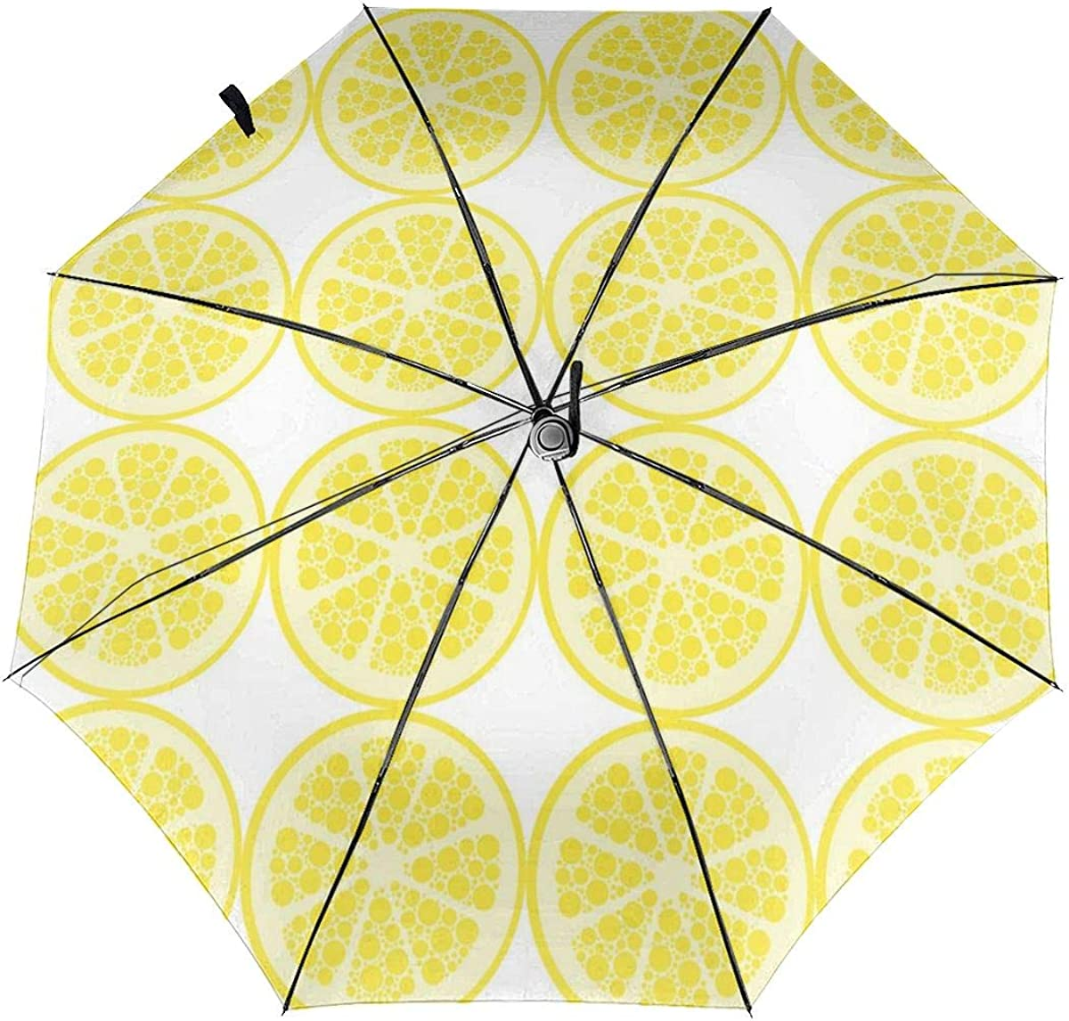 Seamless Lemon Pattern Yellow Image Compact Travel Umbrella Windproof Reinforced Canopy 8 Ribs Umbrella Auto Open And Close Button Personalized