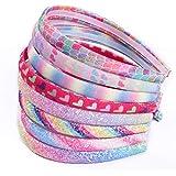 Rainbow Headbands 8 Pcs Sweet Hairband Children Head Bands For Girls Sequin Printed Heart Mermaid Headband Kids Hair…
