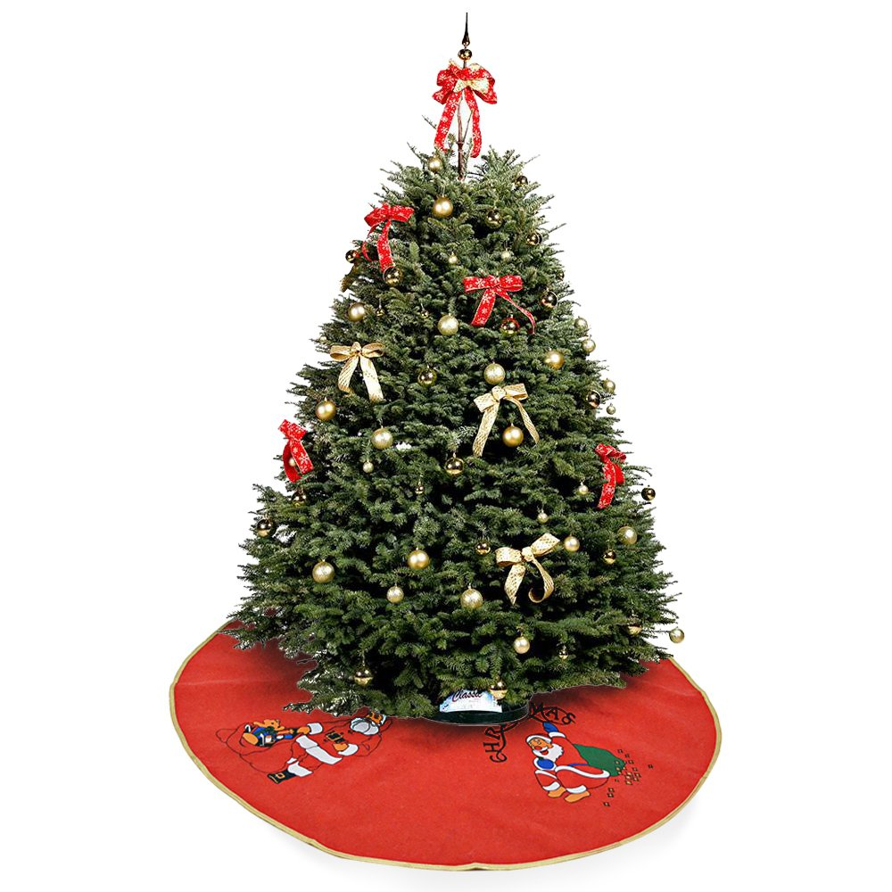 okaytec Santa Christmas Tree Skirt with 4Figures Christmas Decorations–To support the Gifts of children, Perfect for Party Tree (Gold and Red Colour & 90cm diameter)