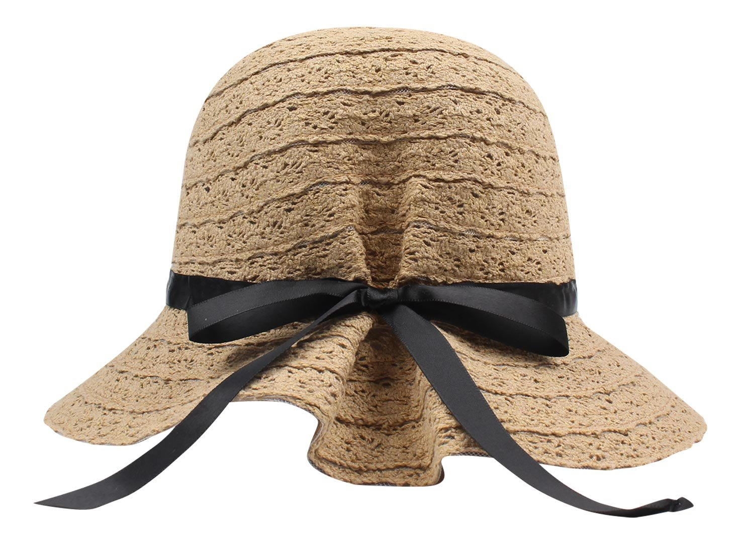 FEOYA Sombrero para Sol Mujeres Playa Gorro Visor con Lazo Visera Ancha  Hueco Plegable Protector Solar 773f9cba2d8