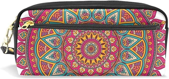 Oriental Mandala Estuche de lápices Bolsas de Maquillaje cosmético Papelería Estuche Cremallera para Mujeres Hombres Trabajo de Oficina: Amazon.es: Equipaje