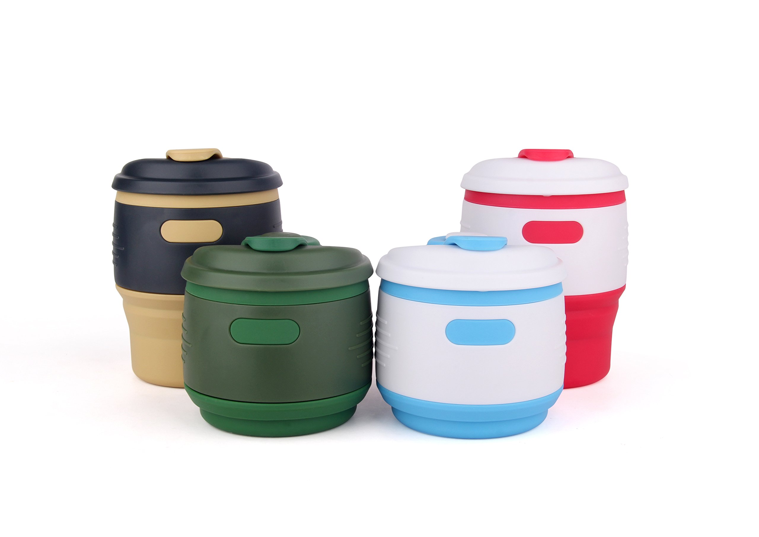 FirstFlourish Pack of 4 Max 12oz Portable Collapsible Coffee Cup with Lid, BPA Free Silicone, Reusable Travel Cup Compact Tea Cup for Hiking and Camping (pack of 4)