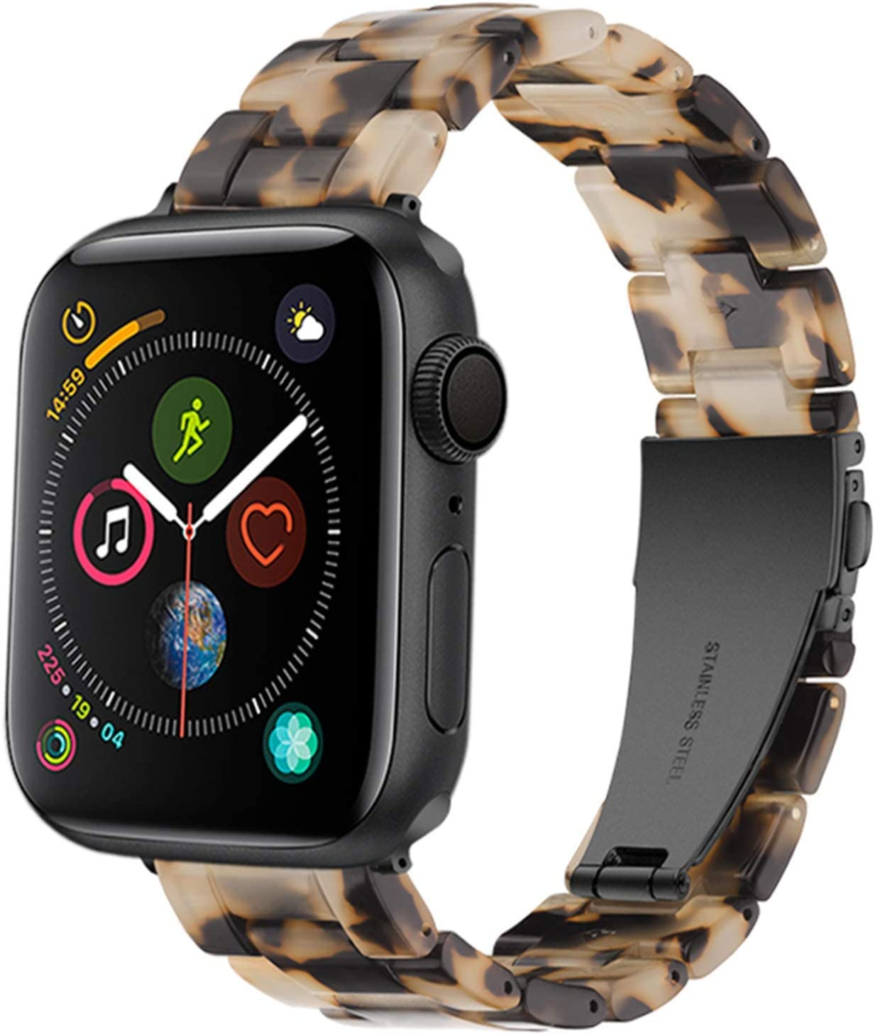 Light Apple Watch Band - Fashion Resin iWatch Band Bracelet Compatible with Copper Stainless Steel Buckle for Apple Watch Series SE Series 6 Series 5 Series 4 Series 3 Series 2 Series1 (Tortoise Stone Flower, 42mm/44mm)