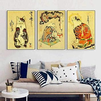 3 piezas japonés samurai gato tatuaje gato Vintage papel cartel ...