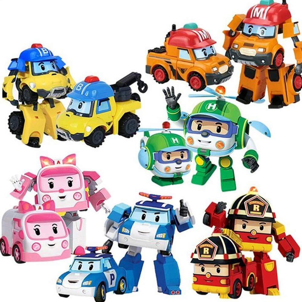 YODE 6Pcs Robocar Poli Transformation Korea Robor Fire Engine Police Car Haili Ambulance Pickup Truck Action Figure Toys