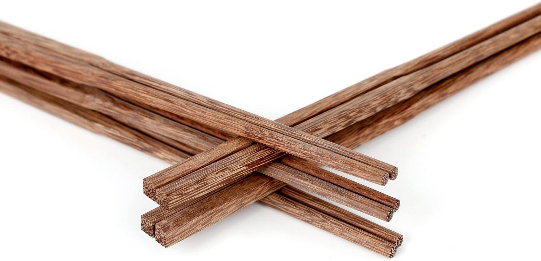 Unichart Chinese Chopsticks Reusable Ebony Organic Natural Wood Chopsticks 10 pairs Set without Paint Dishwasher Safe Khaki