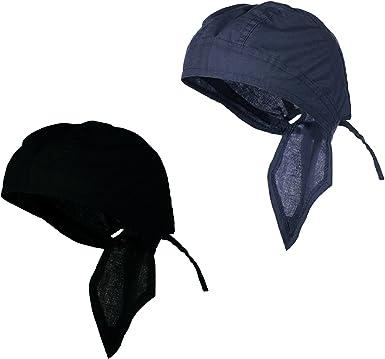 Set of 4 Plain Black Cotton Doo Du Rag Skull Cap Headbands Bandanas Head Wrap
