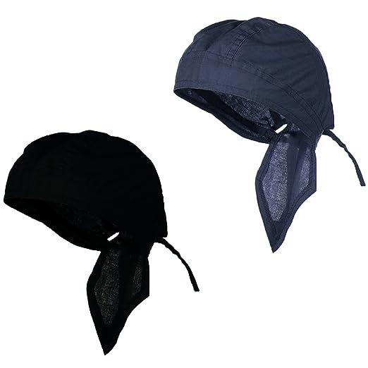 095caa50aa Doo Rag Du Rag Do Cotton Solid Color Bandana Chemo Cap (Black and Navy Blue