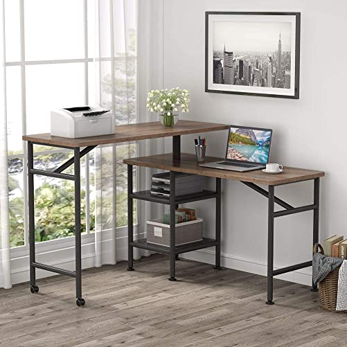 Tribesigns L Shaped Rotating Standing Desk, Industrial 360 Degrees Free Rotating Corner Computer Desk with Storage Shelf, Reversible Rustic Office Desk with Wood Veneer Great for Home Office Rustic