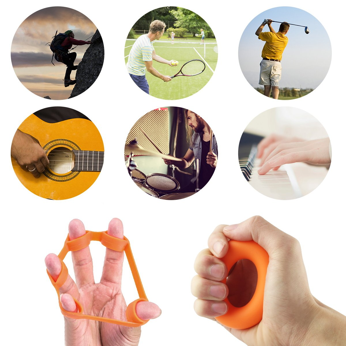 Vishusju Hand Grip Strengthener Finger Stretcher Strength Trainer Set