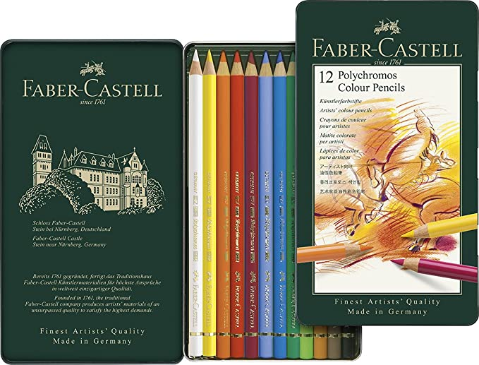 Faber Castell Polychromos Colour Pencils Tin Of 12 by Amazon