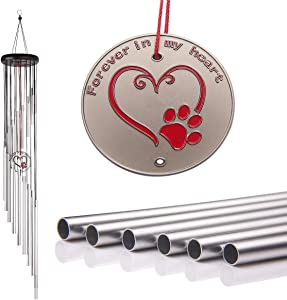 "Popvip Pet Memorial Wind Chime, Large 27.5"" Silver Aluminium Remembrance Wind Chime, Pet Loss Gifts, Cat & Dog Memorial Gifts for Garden & Home"