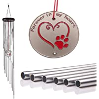 "Popvip Pet Memorial Wind Chime, Large 27.5"" Silver Aluminium Remembrance Wind Chime,…"