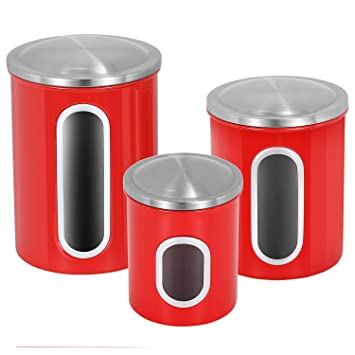 Kitchen Canisters Set ATECKING Fingerprint Proof Stainless Steel Canisters  With Airtight Lid Clear Window Red