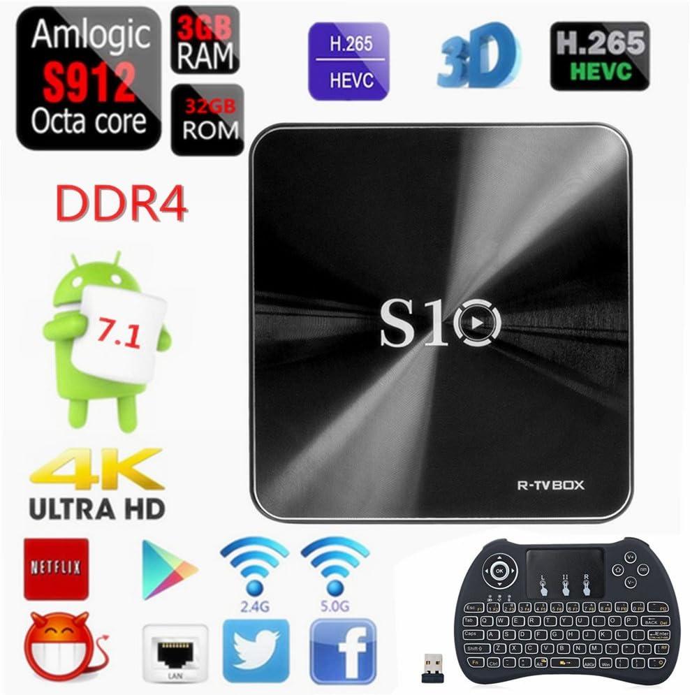 Android TV Box, Amlogic S912 Octa Core ARM Cortex-A53 CPU 3 GB RAM/32 GB ROM Android 7.1 Smart Mini PC soporte WiFi 2.4 GHz/5 GHz Bluetooth 4.0 con teclado inalámbrico retroiluminada: Amazon.es: Electrónica