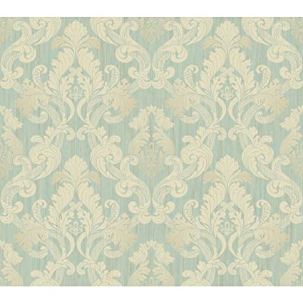 York Wallcoverings EM3867 Shimmering Topaz Framed Ombre Damask Wallpaper Aqua Metallic Gold Cream