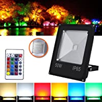 HG® 50W RGB LED Fluter Außen Strahler Scheinwerfer mit Fernbedienung 16 Farben 4 Modi Garten Deko Auffahrt Garage Beleuchtung Outdoor Licht Stimmungslichter IP65
