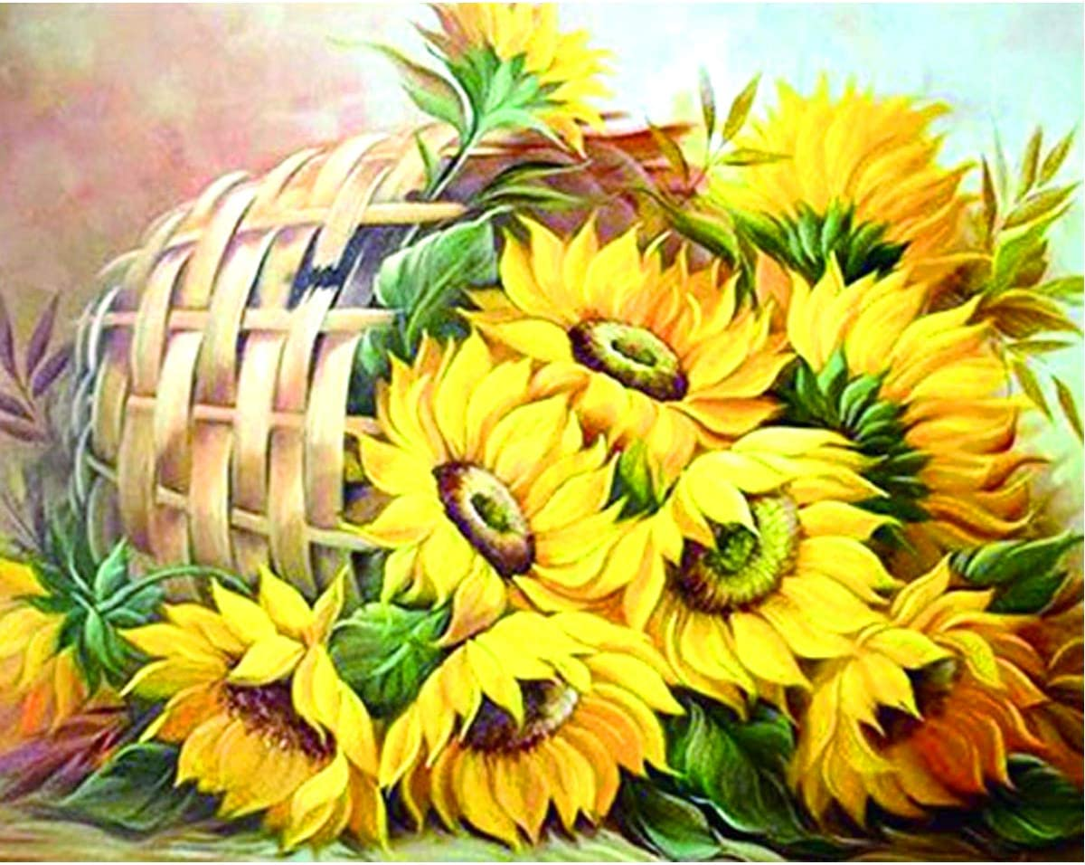 5D Square Full Diamond Painting DIY Kit Rhinestone Drill Picture Art Craft for Home Wall Decor 12x16Inch Basket of Sunflowers