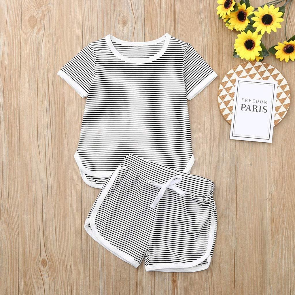 Womola New Toddler Baby Girl Boy Clothes Short Sleeve Striped Tops T-shirt+Shorts Outfits Set