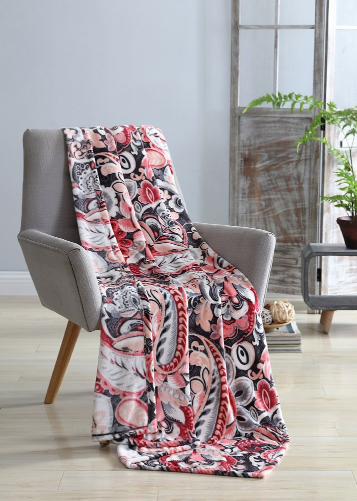 Hudson Essex Bergamo Velvet Plush Throw, Decorative Abstract Floral Design, Great For Couch, Bedroom Or Travel, Unique Accent Piece, Ultra Soft, Multi-Purpose Plush Throw 50x70 Inches