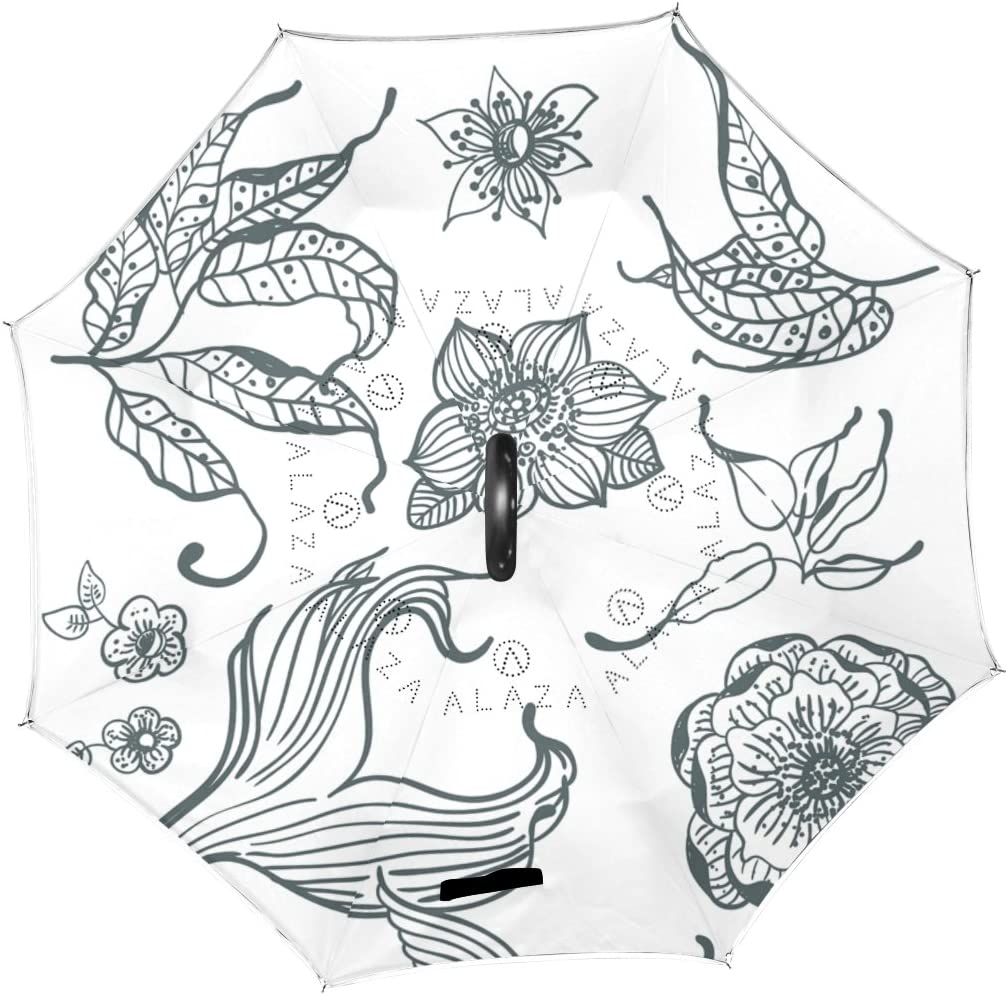 AHOMY Inverted Reverse Umbrella Black White Koi Fish Windproof for Car Rain Outdoor