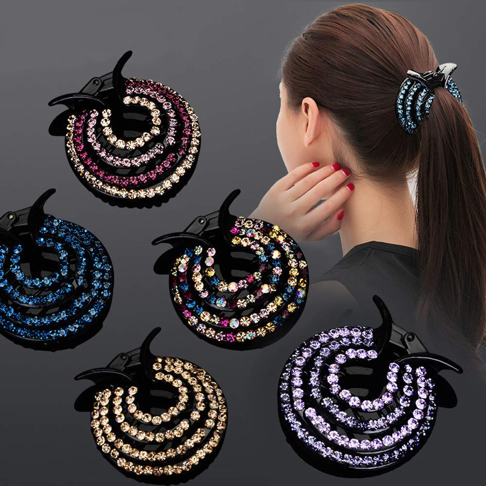 WensLTD Clearance! Women Girls Hair Clips Nest Rhinestone Hairpin Ponytail Bun Holder Accessory (E)