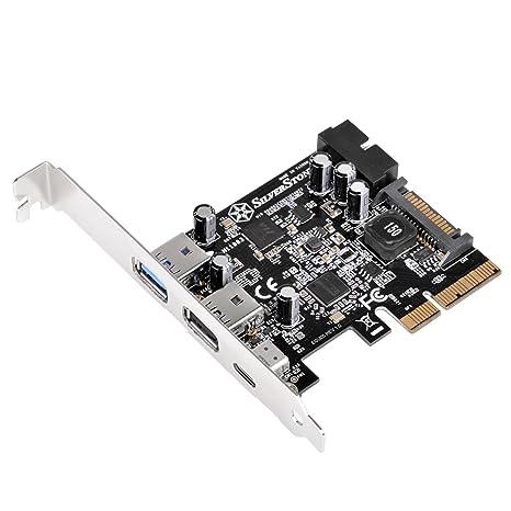 Silverstone SST-ECU05 - SuperSpeed External USB 3.1 Tipo C, 2X USB 3.0 Tipo A, 1x USB 3.0 Interno Tarjeta PCI-E Express Gen 2.0 2X, 10 Gbps, acepta ...