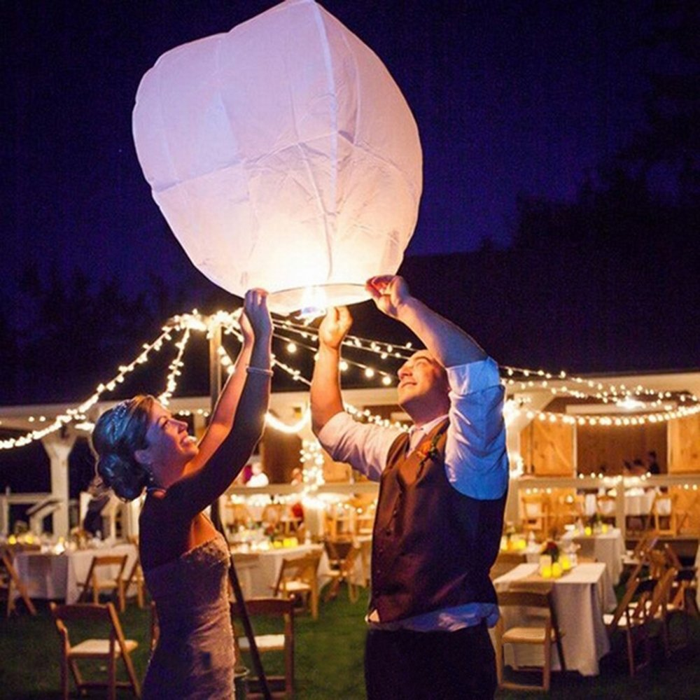 Chinese Paper Flying Sky Lanterns, LURICO 10 Pack Eco Friendly Paper Wish Lanterns with Wax Block, Wire-Free Flying Chinese Sky Lanterns for Weddings, Birthdays, Memorials and etc - White